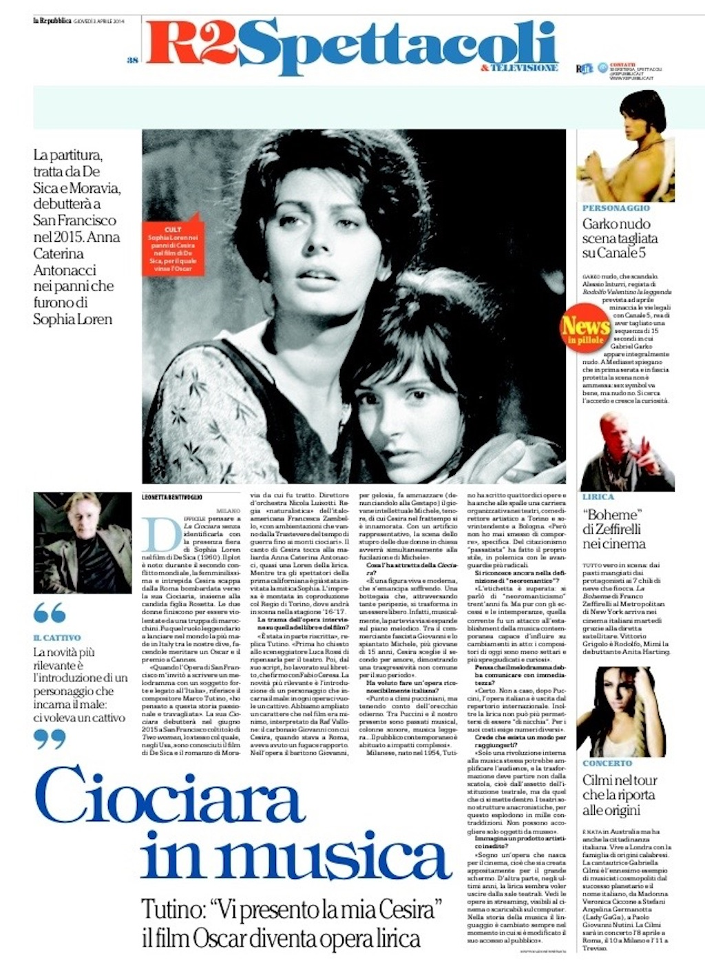 LA REPUBBLICA Aprile 2014 - La Ciociara